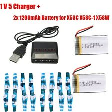 5 in 1 Charger+3.7V 1200mAh Lipo Battery *2+8 pcs Blade RC For Syma X5C-1 X5SC