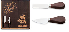 DISNEY STORE SQUARE WOODEN CHEESE BOARD WITH TWO KNIVES W/WOODEN HANDLES NEW