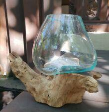 Large flower/plant bowl molten glass on wood - handmade