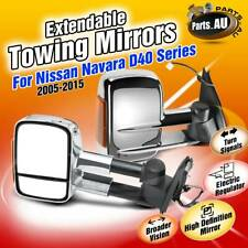 2x Chrome Extendable Towing Mirrors w/ Indicator for Nissan Navara D40 2005-2015