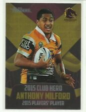 2016 NRL TRADERS CLUB HERO BRISBANE BRONCOS ANTHONY MILFORD CH2 CARD