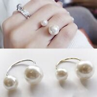Elegant Woman Open Finger Ring Double-headed Pearl Ring Wedding Party Jewelry