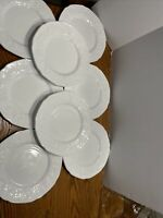 "Set Of 8 INDIANA Glass Panel Harvest Grape Milkglass Dessert Plates 8"" Round"