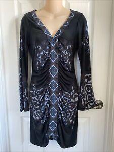 Hale Bob Black Abstract Design Silk Sheath Womens Small S Dress EUC