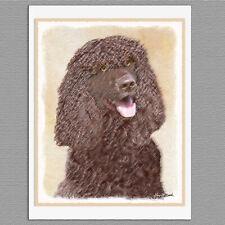 6 Irish Water Spaniel Dog Blank Art Note Greeting Cards