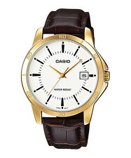 MTP-V004GL-7A Gold White Casio Men's Watches Genuine Leather Band Brand-New