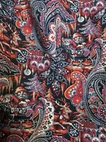Talbots women's Large button up long sleeve paisley & Christmas Red black beige