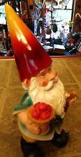 """Garden Gnome Blue W/ Apples Pick Axe 12"""" Tall Statue Figurine Lawn Patio Porch"""