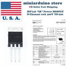 "5 PCS IRF740 ""IR"" Power MOSFET N-Channel 10A 400V 5X IRF740PBF"