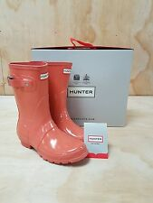 Hunter Wellies Original Short Wellington Boots Gloss Sunset Size 8 UK / 41 EU