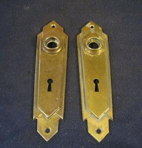 NIce Pair Antique Art Deco Mortise Door Lock Back Plate Escutcheons Corbin MIAMI