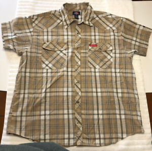 Dickies Mens Western 2XL Short Sleeved Pearl Snap Tan and White Plaid