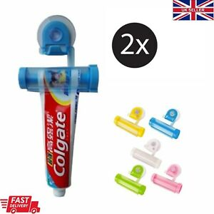 2x Toothpaste Tube Dispenser Rolling Squeezer Wall Mounted Hook Suction Holder