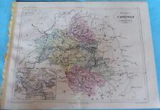 Old Map 1900 France Département l'Aveyron Rodez Millau Rignac Villefranche Rome