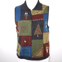 WOOLRICH Women's M Gray 100% Lambs Wool Christmas Knit Sweater Vest Embroidered