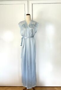 Diamond Cut vintage Blue floral Lace night gown robe size 14 But Generous NWT