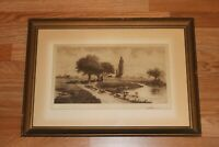 Amos W. Sangster Framed Matted Sepia Etching SIGNED Pencil H.S. Bliss 1886