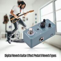 Digital Reverb Guitar Effect Pedal 9 Reverb Types True Bypass Full Metal C7V5