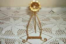 RARE SMALL PRECIOUS ITALIAN TOLE GILT FLOWER EASEL HOLLYWOOD REGENCY CHIC SHABBY