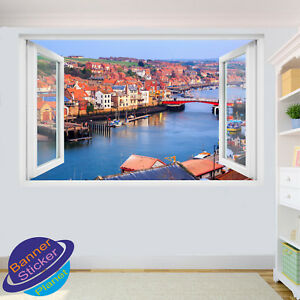 WHITBY HARBOUR PIER WALL STICKERS ART POSTER DECAL MURAL ROOM OFFICE DECOR VL6