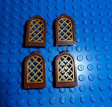 Lego 4x Reddish Brown Rounded Window w/ Pearl Gold Lattice 30044/30046 *NEW*