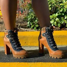 Liliana KUNST-1 Tan Black Color Block Chunky Heel Lace Up Lug Sole Boot Bootie