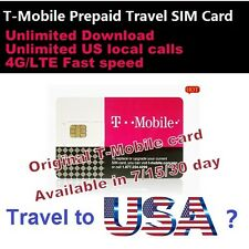 Travel to USA?30 days Prepaid T-Mobile 4G sim UNLIMITED Download data Local call