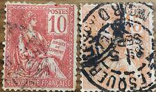 2 Sellos Francia usados 1900 Yvert 116 y 117