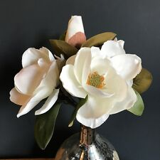 Extra Large Bunch of Realistic White Artificial Magnolia Cream Faux Silk Flowers