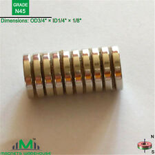 "10-count neodymium N45 ring magnets 3/4""OD x 1/4"" ID x 1/8"" (True N45)"