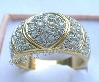 cadeau de Noël, 18 carats plaqué or, cristal,en forme de cœur, bague, taille 63#