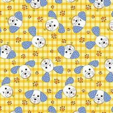 Fat Quarter -Joey the Shop Dog: Happy Joey Yellow Cotton Fabric