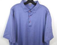 Peter Millar Micro Stripe Golf Polo Shirt Mens 2XL Blue Cotton Short Sleeve