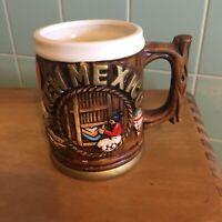 Vtg New Mexico Souvenir mug Japan Roadrunner Landmarks brown gold no chips white