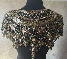 Sequin Beaded Lace Hip Wrap Collar Shoulder Shrug Shawl Applique Gold/Black