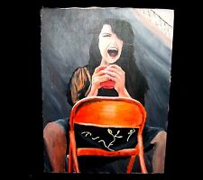 Girl Screaming High School Oil Painting on Canvas 24 x 18 By Andrea Adams