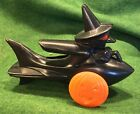 Rosbro Plastic Halloween Witch on Rocket,Pumpkin Wheels Pull Toy Candy Container