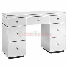7 Drawers White Mirrored Makeup Dressing Table - Mirror furniture