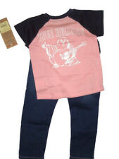 True Religion Toddler Pink Logo T-shirt & Jeans Set Size 2t Outfit Retail