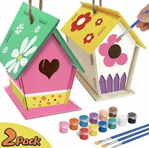YUET DIY Bird House Kit,2 Packs of Paint Build Crafts Birdhouses for Girls Boys