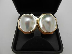 Gorgeous Heavy Large 14k Solid Yellow Gold Natural Pearl Earrings w/ Omega Backs
