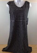 NEW Andrew Marc New York Performance Black White Striped Hoodie Dress Small NWT
