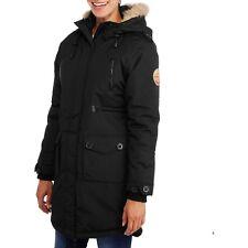 Fahrenheit Women's Long Puffer Parka Coat Jacket With Fur-Trim Hood Black Small