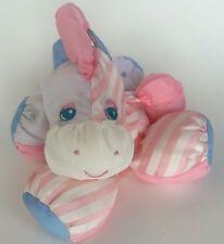 Vintage 1991 Fisher Price Puffalump Zebra Wide Stripe Pink Blue Stars Plush