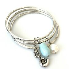 Lucky Brand Womens Bracelet Set of 3 Silver Tone Bangles Snail Pearl Blue Charms
