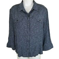 Norton McNaughton Blouse Buttoned Bell Sleeve Crinkle Linen Floral Top Size L