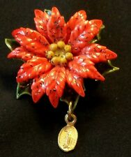 Vintage Christmas Pin Poinsettia Holly Leaves Berries 3 Layer Virgin Mary Charm