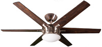 6 Blade 60 inch Nickel Ceiling Fan with Light Kit Wall Control Reversible Blades