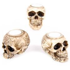 Neu+Teelicht +Totenkopf +Halloween+Gothic+Teelichthalter+Skull+3er+Set+