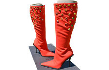 VERSACE New Vtg Sold out Runway Jewel Lux High Heel Wool Boots Shoes sz 36 UK 3